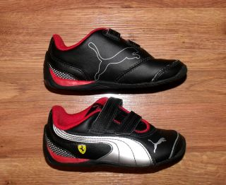 "Puma Boys Girls ""Ferrari Drift"" Black Leather Sports Casual Leather Shoes Sz 8"