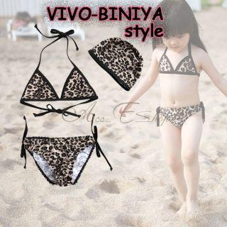 Girls Kids Leopard Bikini Swimsuit Swimwear Bathing Suit Swimming Costume Sz 2 6