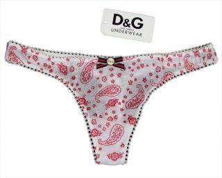 "Dolce Gabbana ""Paisley Bandana"" String Thong Tanga TÜLL Dessous Weiß Rot Neu"