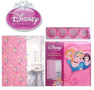 Disney Princess Fabric Shower Curtain Set Cinderella Aurora Snow White 12 Hooks