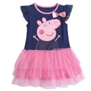 New Baby Toddler Girls Navy Blue Peppa Pig Party Tutu Dress Top Outfit 2T 6