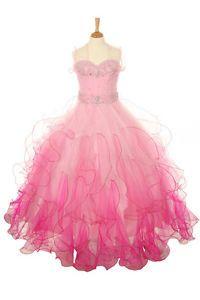 New Glitz Pageant Girl Gown Dress Bolero Pink and Fushia Gradation Sz 3 to 16