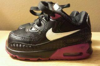 Nike Air Max 90 Infant Toddler Girls Walking Running Shoes Size 5c Black Purple