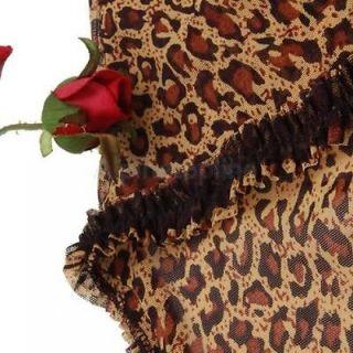 New Women's Sexy Leopard Print Lingerie Sleepwear Robe Dress Babydoll G String