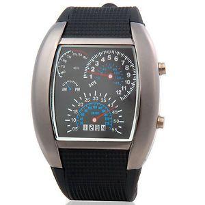 New Black Japanese Movement Racing Car Dashboard Design Fan Shaped LED Watch