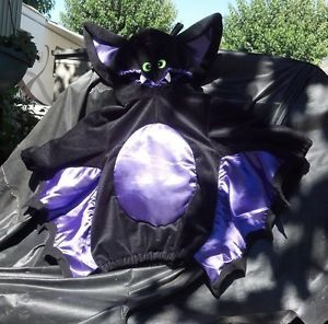 Baby Kids Bat Costume Plush Black Infant 4 Halloween w Wings Sz 9 or 12 Month