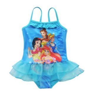 Blue Girls Kids Princess Tutu Swimsuit Swimwear Bathing Suit Swim Costume Sz 2 8