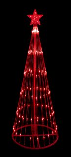 9' Red LED Light Show Cone Christmas Tree Lighted Yard Art Decoration