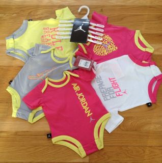 8c8ef79bf62 Nike Air Jordan Baby Girl Bodysuit Shirt Clothes Lot 5 PC Size 0 3M $60 New