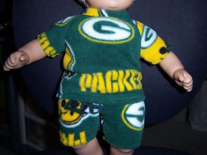 """Greenbay Packers Fabric Doll Clothes Fit American Girl 15"""" Bitty Baby Dolls"""