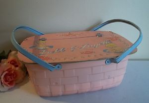 Vtg 1960's Doll E Layette AMSCO Toys Pink Basket for Baby Doll Clothes