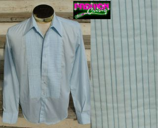 Vtg 70s Baby Blue Tuxedo Shirt Button Down Cuff Link s M 15 36 Prom Formal Thin