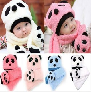 2pc Toddler Unisex Girl Boy Infant Baby Hat Cap Beanie Scarf Panda Cartoon 5 36Y
