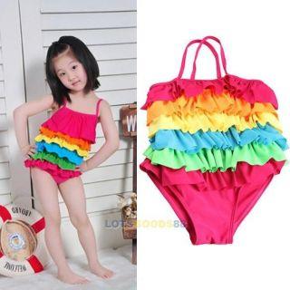 Baby Girls One Piece Colorful Ruffled Swimwear Bikini Swimsuit Bathing Suit LS4G