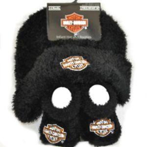 Harley Davidson Infant Boys Cap Hat Booties Gift Set Apparel Black 3 6 MO