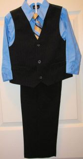 Boys 4pc Suit Set Black Vest Stripe Tie Black Pants Blue Shirt Sz 4 T New