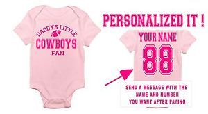 ... Pink Daddys Mommys Cowboys Fan Baby Onesie Jersey T Shirt Infant Dallas  Clothes ... c8ce11158
