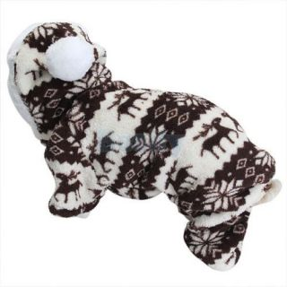 Pet Dog Puppy Hoodie Hooded Jumpsuit Coat Reindeer Flower Clothes Suit Warm New