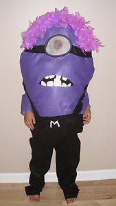 Evil Minion Costume Despicable Me Kids Child Size Homemade Fits 4T Up to 10 New