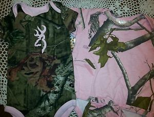 Girls Infant Onesies Pink Camo Camouflage Browning Realtree Duck Deer Hunting