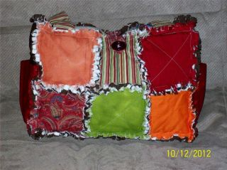 Fall Brown Orange Burgandy Green Rag Quilt Diaper Bag Tote Purse Great Gift