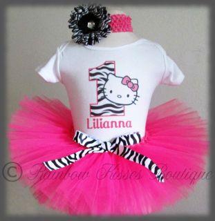 1st Birthday Hello Kitty Tutu Outfit Set with Matching Headband