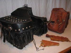 Vtg Harley Davidson Old Motorcycle Antique Saddlebag Fringe Part Indian Leather