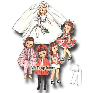 "Vtg 8"" Betsy McCall Doll Clothes Pattern Wedding Dress Play Clothes Pajamas"