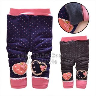Kids Baby Girls Polka Dot Floral Winter Pants Toddlers Jeans Trousers Size 6M 4Y