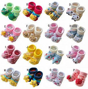 Cartoon Stereo Baby Girl Booties Socks Prevent Slippery