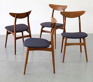 Set Of 4 Mid Century Modern Dining Chairs 50s 60s Danish