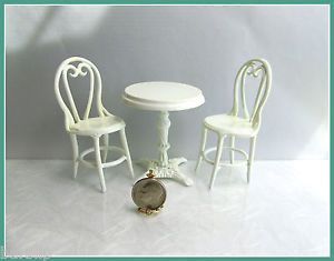 Dollhouse Miniature White Metal Cafe Table 2 Chairs