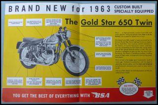 1963 BSA Motorcycle Brochure Book A10 Super Rocket Goldstar Catalina Spitfire