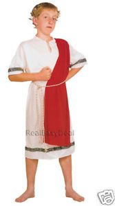 Roman Emperor Caesar Toga Greek Child Costume Grecian 7 9 Years Kids CC520
