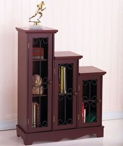 Triple Step Cabinets CD DVD Shelves Accent Table Decor Storage Organizer Book