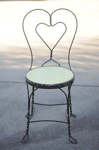 """Vintage Wrought Iron Ice Cream Parlor Chair 38"""" High"""