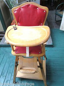 """Antique Wooden High Chair Upholstered Converts to Table Chair w 4 Wheels 38""""T"""