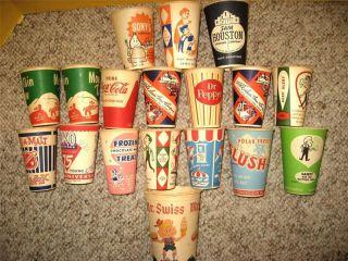18 Vintage Disposable Vending Machine Dispenser Cups Coke MT Dew Dr Pepper Etc