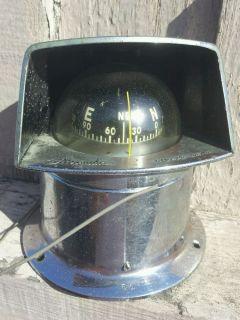 Vintage Nautical Nautilus Airguide Rat Rod Marine Compass Sun Hood Light U s A