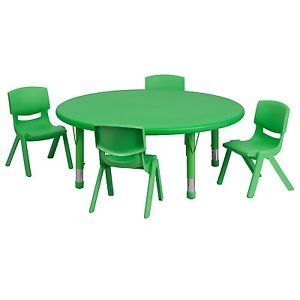 Kids Furniture Large Round Table 4 Green Chairs Preschool Day Care Play Set
