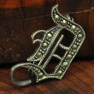 Vintage Sterling Silver Marcasite Old English Letter D 2G Brooch VO471