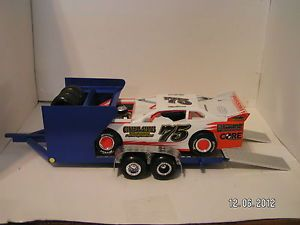 1 24 Blue Custom Modified Dirt Late Model Race Car Hauler Trailer Tire Rack