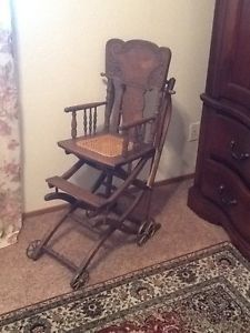 Antique Vintage 1800's Wooden High Chair and Baby Stroller