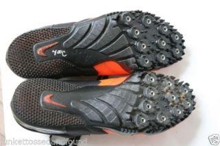 284 Womens Nike Orange Black Bowerman Series Track Field Shoes w Spikes Sz 7