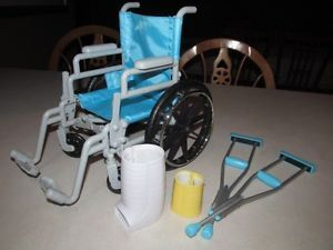 "Battat Wheel Chair Crutches Cast Fits American Girl Madame Alexander 18"" Doll"