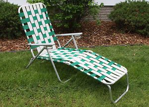 ... Vintage Aluminum Webbed Folding Lawn Chair Lounge Chaise Green White  1960s Retro ...