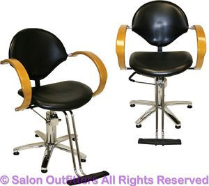 2 Natural Oak Arms Professional Hydraulic Barber Chairs Beauty Salon Equipment