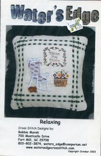 Relaxing Pillow Rocking Chair Water's Edge Cross Stitch Pattern 30 Days to Pay