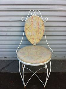 Vintage Shabby Vanity Chair Metal Chic Upholstered Cottage Boudoire Ample French