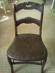 Antique Country Victorian Hand Carved Solid Mahogany Childs Chair